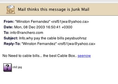 junk mail screenshot