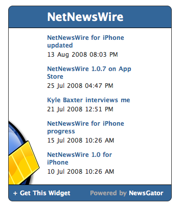 Screenshot of NetNewsWire news widget