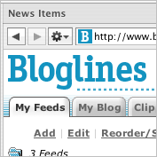 Bloglines running inside NetNewsWire's browser