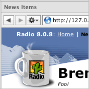 Radio UserLand. running inside NetNewsWire's browser
