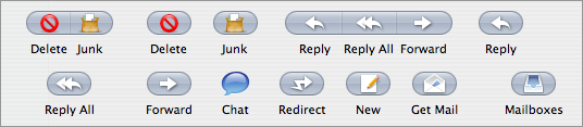 Screen shot of some of Tiger's Mail toolbar icons