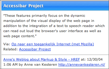 Screen shot showing related and via links